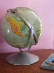 Worldly Vintage Sculptural Relief Globe
