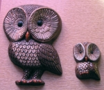 Darling Vintage 70s Mom and Baby Owl Art