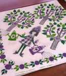 Darling Vintage 60s Swedish Garden Girl Table Cloth