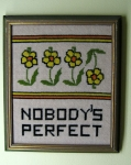Nobody's Perfect Vintage 70s Needlpoint Framed Art