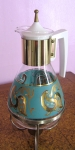 Aqua & Gold Vintage 50s Coffee Urn with Stand