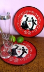 Charming Vintage 40s Old Timey Serving Trays