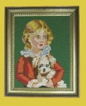 Most Demented Boy & Dog Vintage Needlepoint