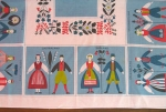 Folkloric Vintage 50s Swedish Couples Table Cloth