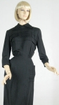 Sharp Prim Vintage 40s Black Rayon Dress