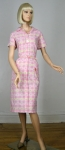 Sweet Pink Cotton Vintage 50s House Dress