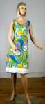 Psychedelic Neon Vintage 60s Paisley Print Sun Dress