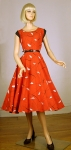 Atomic Vintage 50s Red Novelty Print Dress