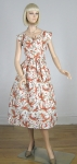 Flaming Foliage Vintage 50s Cotton Day Dress