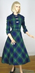 Tartan Plaid Vintage 50s Full Skirt Dress