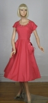 Reddish Rose Pink Vintage 50s Button-y Pocket-y Dress