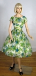 Gorgeous Vintage 50s Floral Chiffon Overlay Full Skirt Dress