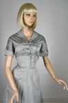 Gray Vintage 50s Modern Miss Rhinestone Bows Dress