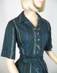 Gingham Paisley Vintage 50s Serbin Shirt Waist Dress