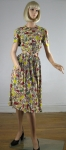 Vintage 40s Trudy Hall Floral Ruffle Dress