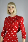 Dramatic Guy LaRoche Vintage 80s Red & White Polka Dot Dress