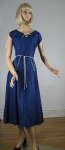 Vivid Blue Piped Vintage 50s Full Skirt Cotton Dress