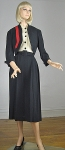 Sharp Vintage 40s Black and Red Trim Dress and  Bolero Jacket