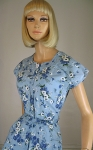 Lovely Top Modes Blue Floral Vintage Day Dress