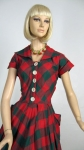 Bold Plaid Vintage 50s Cotton Day Dress