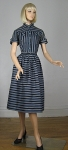 Graphic Vintage 50s Striped Black & Blue Dress
