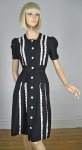 Sweet Vintage 40s Black and White Eyelet Dress