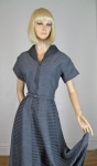 Two Tone Vintage 50s Gray and Black Full Skirt Dress