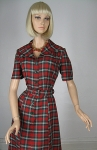 Smart Vintage 50s Red and Green Plaid Dress