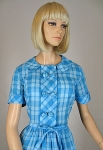 Big Knotty Button Vintage 60s Plaid Day Dress