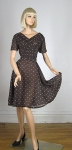 Darling Draped Vintage 60s Brown Sheer Diamond Print Dress