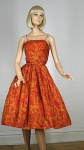 Vintage 60s Alfred Shaheen Silk Strappy Floral Dress