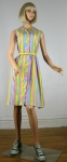 Pastel Stripe Vintage 60s Cotton Shirt Dress