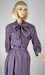 Chic Vintage 60s Pussy Bow Silk Blend Dress