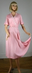 Sweet Vintage 50s Pink Linen Soutache And Rhinestone Trim Dress