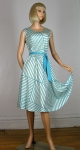 Geo Vintage 70s Aqua Stripe Dress with Full Skirt
