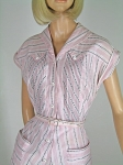 Pintucked Vintage 50s Pink and Black Gingham Shirtwaist Dress
