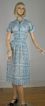 Pretty Sheer Vintage 50s Cotton Voile Medallion Print Dress