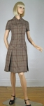 Kicky Brown Plaid Vintage 60s Pleated Dress