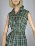 Smart Vintage 60s Plaid Sleeveless Shirt Dress