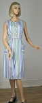 Pastel Striped Vintage 60s Summer Sleeveless Dress