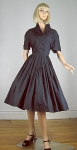 Crisp Vintage 50s Black Shirtwaist Dress