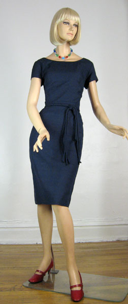Simple Classic Vintage 60s Navy Shantung Dress
