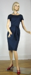 Simple Classic Vintage 60s Navy Shantung Dress 1.jpg