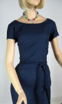 Simple Classic Vintage 60s Navy Shantung Dress 2.jpg