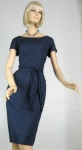 Simple Classic Vintage 60s Navy Shantung Dress 3.jpg