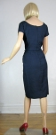 Simple Classic Vintage 60s Navy Shantung Dress 5.jpg