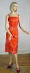 Bright Red Vintage 70s Malia Bird Print Sun Dress