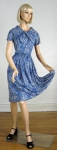 Slinky Nylon Vintage 60s Blue Floral Dress