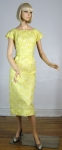 Pale Lemon Yellow Vintage 50s Organdy Dress