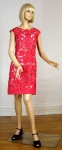 Gorgeous Red Vintage 60s Moygashel Linen Cutwork Dress